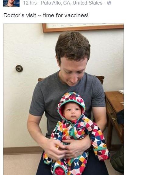 Fondatorul Facebook cu fetita la vaccinare